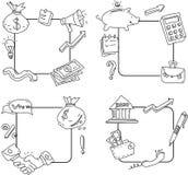Bosquejos de los marcos del negocio y del dinero en el fondo blanco libre illustration