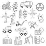 Bosquejos de los objetos de la industria y de la ecología Fotos de archivo