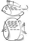 Bosquejos de los pescados aislados en blanco Fotos de archivo libres de regalías
