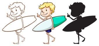 Bosquejos de un muchacho que practica surf Fotos de archivo