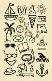 Bosquejos del icono de la playa del verano Fotos de archivo