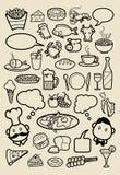 Bosquejos del icono del restaurante Foto de archivo