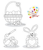 Bosquejos felices del libro de colorante de pascua Imagen de archivo libre de regalías