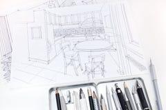 Bosquejos gráficos del interior moderno de la cocina con las herramientas de dibujo Foto de archivo