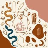 Bosquejos Handdrawn del tatuaje Cristales, serpientes y plantas de los cactus Ojo de Providence Símbolo de la diosa de la luna As stock de ilustración