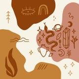 Bosquejos Handdrawn del tatuaje Cristales, serpientes y plantas de los cactus Ojo de Providence Símbolo de la diosa de la luna As libre illustration