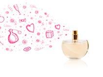 Bosquejos que salen de la botella de perfume hermosa fotos de archivo libres de regalías
