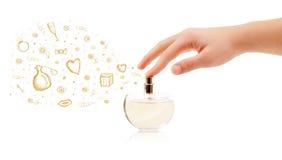 Bosquejos que salen de la botella de perfume hermosa imágenes de archivo libres de regalías