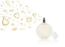Bosquejos que salen de la botella de perfume hermosa imagen de archivo