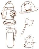 Bosquejos simples de las cosas usadas por un bombero Imagen de archivo