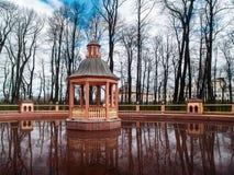 Bosquet ` Menagerium池塘`在夏天庭院里在早期的春天在4月在圣彼德堡 库存图片