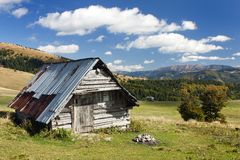 Bosrijk chalet op de bergen stock foto's