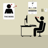 The boss. Employee throwing darts at a poster of the boss Royalty Free Illustration