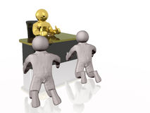 Boss. Gold 3d man at the table and gray mans, white background Royalty Free Stock Photo