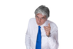 Boss 2. Gray-haired mature man wearing a white shirt and a blue necktie pointing his finger Stock Photography
