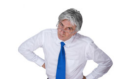 Boss 3. Gray-haired mature man wearing a white shirt and a blue necktie Stock Images