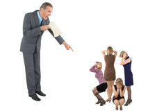 Boss. The boss in a grey suit shouts in a megaphone on four women Royalty Free Stock Photo