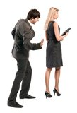 Boss is accosting secretary. The boss is accosting the secretary at the work, mobbing Stock Image