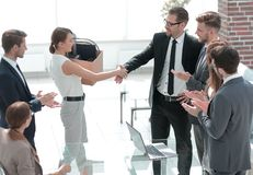 Free Boss And The New Employee Shaking Hands With Each Other Stock Photos - 129294303