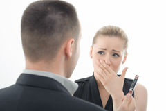 Boss angry on employee, from behind Royalty Free Stock Images