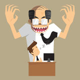 Boss angry transform to devil businessman was asleep during work. Vector Stock Images