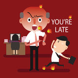 Boss angry you're late Stock Photos