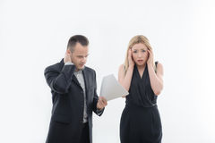 Boss angry with young employee royalty free stock photos