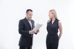 Boss angry with young employee Royalty Free Stock Images