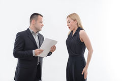 Boss angry with young employee Stock Images