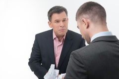 Boss angry with young employee Stock Photo