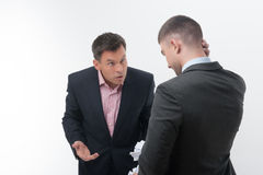 Boss angry with young employee Stock Photography