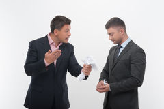 Boss angry with young employee Stock Image