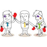 Boss announcing winner in boxing match royalty free illustration