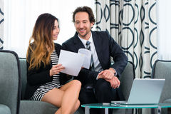 Boss and assistant or in hotel working together Royalty Free Stock Photo