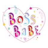 Boss babe hand lettering design. Great for mug design or t shirt print Royalty Free Stock Image