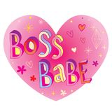 Boss babe heart shaped design. With hand lettering, great for mug design or t shirt print Royalty Free Stock Images