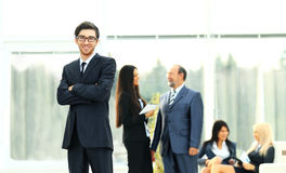 Boss on the background of business team Royalty Free Stock Photos