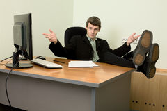 Boss in black suit on a workplace Royalty Free Stock Image