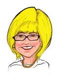 Boss Blonde Woman Smiling Cartoon Caricature stock illustration