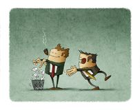 Boss is breaking a contract and throwing it into the bin while employee is behind surprised. Illustration of boss is breaking a contract and throwing it into the royalty free illustration