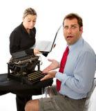 Boss and business man digital divide. Boss and business men digital divide, white background stock photos