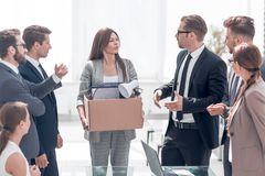 Boss and business team welcome new employee. The concept of the first working day royalty free stock images