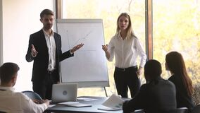 Boss and business training make presentation during seminar