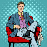 Boss businessman Director. Pop art retro style. Top Manager. A successful business. Portrait of a businessman. The man with the newspaper. The man in the chair stock illustration