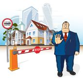 Boss prohibits, barrier, stop sign, buildings Royalty Free Stock Photo