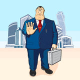 Boss or businessman. Tall buildings. The director or the banker against the backdrop of tall buildings Stock Photography