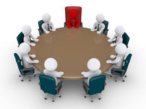 Boss and businessmen in a meeting. 3d businessmen and boss around table as in a meeting Stock Images