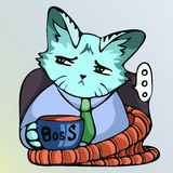 Boss cat. The boss is a cat with a cup on a lounge chair in plaid Stock Images