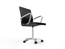Boss Chair. Black leather boss chair for office, side view, isolated on white background Royalty Free Stock Photography