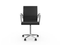 Boss Chair. Black leather boss chair for office, front view, isolated on white background Stock Images